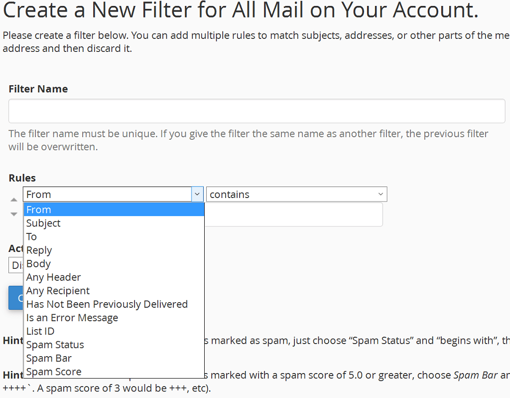 add mail filter