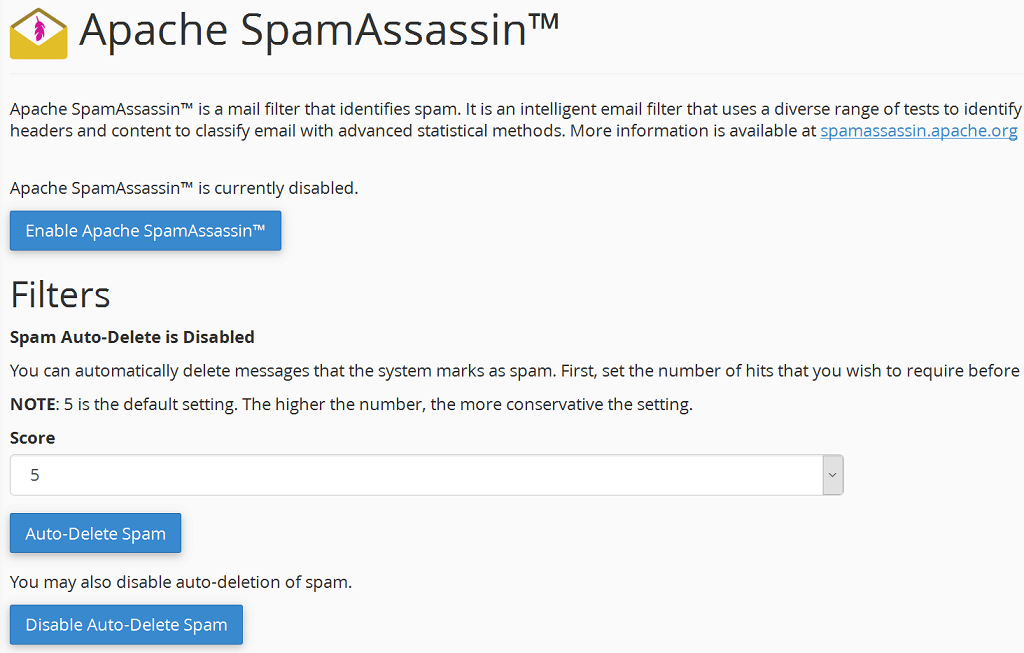 enable spamassassin