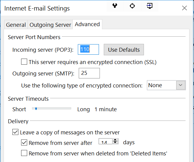 mail ports settings