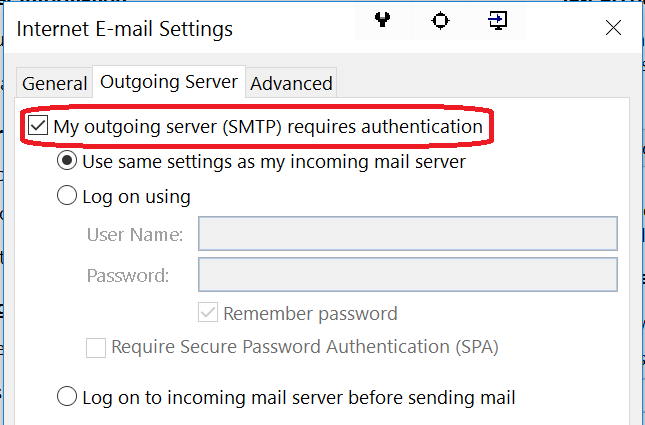 enable smtp authentication