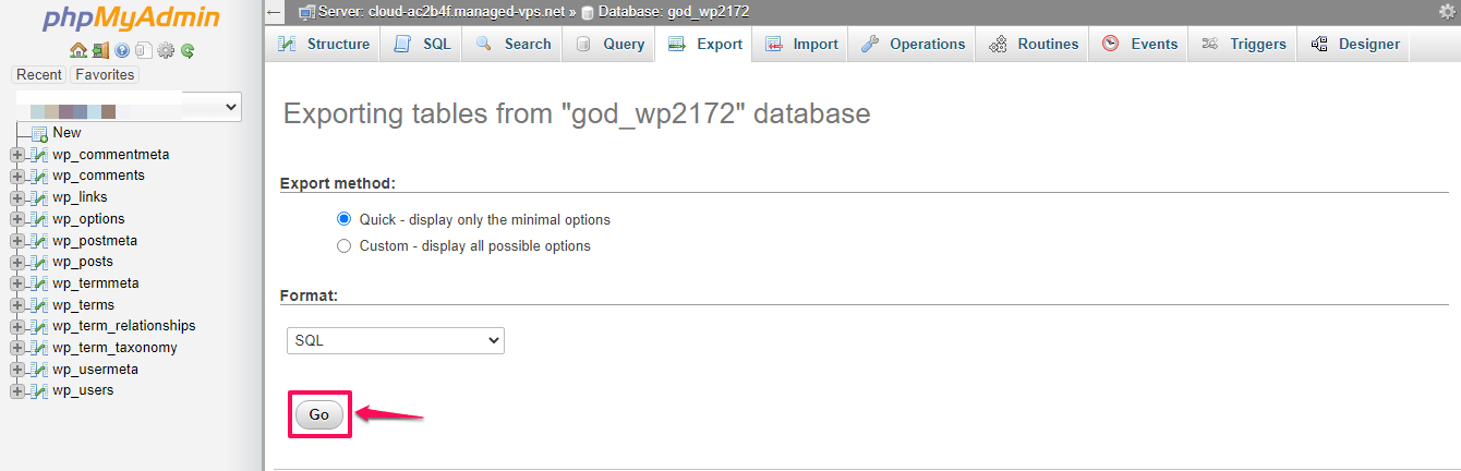 How to export MySQL Database?