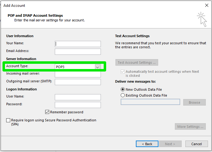 Manually Add Email Account to Outlook 2016 (Windows)
